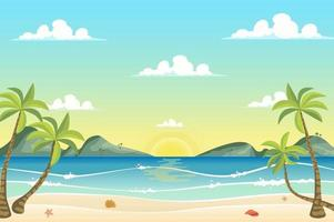 nascer do sol no fundo da paisagem à beira-mar vetor