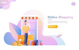 homem usando o aplicativo de compras móvel. loja que parece smartphone. conceito de compras online. ilustração em vetor design plano.