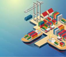 vista aérea da orla do porto e do terminal marítimo com navio de contêiner carregando cartaz isométrico ilustração em vetor abstrato