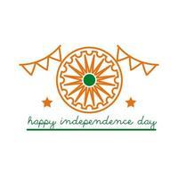 celebração do dia da independência na Índia com ícone de estilo de linha Ashoka chakra e guirlandas vetor