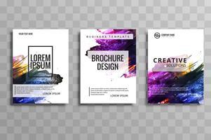 Brochura de negócios aquarela abstrata definida de vetor de cartões