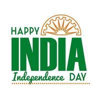 celebração do dia da independência na Índia com ícone de estilo de linha Ashoka chakra vetor