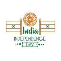 celebração do dia da independência na Índia com ícone de estilo de linha Ashoka chakra e bandeiras vetor