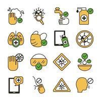 pacote de covid19 conjunto de ícones vetor