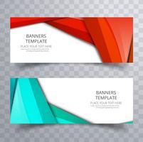 Banner colorido moderno conjunto com onda de cabeçalho vetor