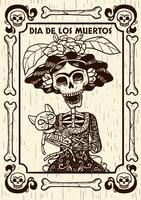Dia do crânio morto com ilustração de gato vetor