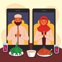 dar e receber perdão por meio da tecnologia durante o eid vetor