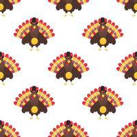 padrão de ação de graças colorido sem costura com pássaro peru e o chapéu vetor