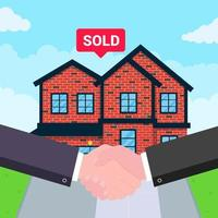 aperto de mão em frente a casa vendida vetor