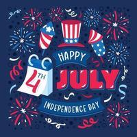fundo tipográfico para comemorar 4 de julho vetor