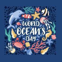 ilustração do dia mundial dos oceanos vetor