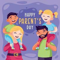 família comemorando o dia dos pais vetor