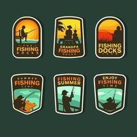 coleção de adesivos de pesca de verão vetor