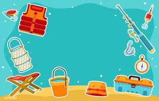 elementos divertidos de pesca de verão vetor