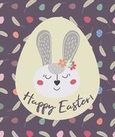 Feliz Páscoa. cartão com o coelhinho da Páscoa e ovos. o Coelho da Páscoa. ilustração vetorial. design de páscoa, impressão, cartões postais, adesivos, convites vetor