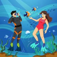 casal tirando foto debaixo d'água vetor