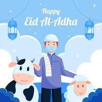 conceito de celebração feliz eid al adha vetor