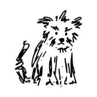 rabisco desalinhado de cachorro terrier de estimação vetor