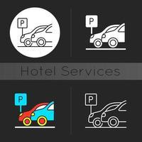 ícone de tema escuro de estacionamento vetor