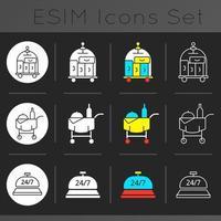 conjunto de ícones de tema escuro de serviços de hotel vetor