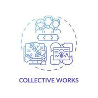 ícone do conceito de obras coletivas vetor