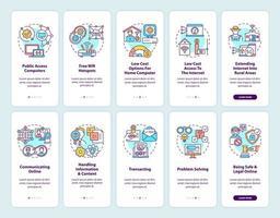 tela da página do aplicativo móvel de integração digital com conjunto de conceitos vetor