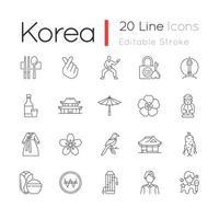 conjunto de ícones lineares da Coreia vetor