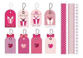 Pacote de vetores de etiqueta e borda do dia dos namorados