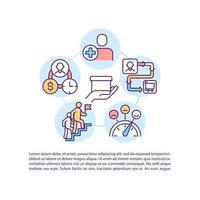 status do usuário e ícones de linha de conceito de estágio de jornada do cliente com texto vetor