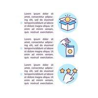 uso de ícones de linha de conceito de bens e serviços com texto vetor