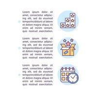 benefícios preferidos e ícones de linha de conceito de segmentos baseados em tempo com texto vetor