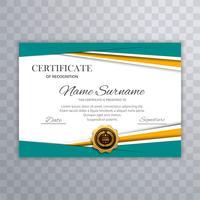 Ilustração colorida do projeto do molde do diploma do certificado vetor