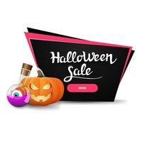 Banner de desconto preto de venda de halloween com jack de abóbora e poção de bruxa vetor