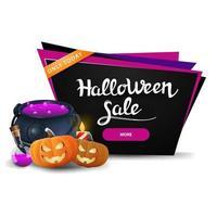 Banner de desconto preto de venda de halloween com pote de bruxa e jack abóbora vetor