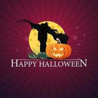 feliz dia das bruxas saudação cartão roxo com espantalho e jack abóbora contra a lua vetor