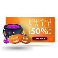 Venda de halloween até 50 banner laranja moderno 3d com vaso de bruxas e jack de abóbora vetor