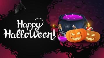 banner de saudação horizontal feliz dia das bruxas com maconha de bruxas e jack de abóbora vetor