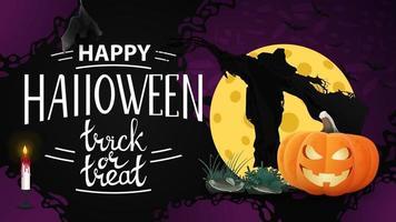 banner de saudação horizontal feliz dia das bruxas com espantalho e jack abóbora contra a lua vetor