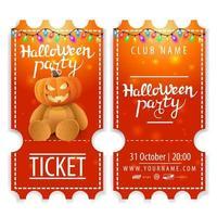 ingresso para festa de halloween lindo design com ursinho de pelúcia com cabeça de jack abóbora vetor