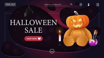 modelo de venda de halloween a página principal do site com o banner de desconto ursinho de pelúcia com cabeça de abóbora vetor