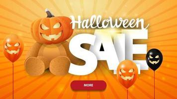 banner laranja web horizontal de venda de halloween com letras grandes urso de pelúcia com cabeça de abóbora vetor