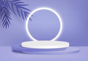 Produtos de fundo 3D exibem cena de pódio com vetor de fundo de plataforma geométrica Renderização em 3D com suporte de pódio para mostrar vitrine de palco de produtos cosméticos em estúdio roxo de exibição de pedestal