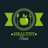 pôster de comida premium e saudável com maçã e talheres vetor