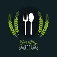 pôster de comida premium e saudável com guirlanda de folhas e talheres vetor