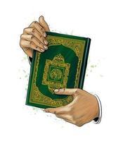 mãos de homem segura o livro sagrado do Corão do respingo de aquarelas feriado muçulmano eid mubarak ramadan kareem esboço desenhado à mão ilustração vetorial de tintas vetor