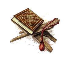 livro sagrado do Corão com rosário do respingo de aquarelas feriado muçulmano eid mubarak eid al fitr ramadan kareem esboço desenhado à mão ilustração vetorial de tintas vetor