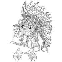 Traje indiano urso desenhado à mão para livro de colorir adulto vetor
