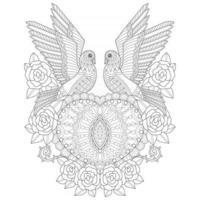 dois pássaros desenhados à mão para livro de colorir adulto vetor