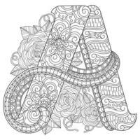 alfabeto desenhado à mão para livro de colorir adulto vetor