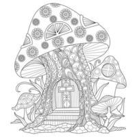 casa de cogumelo desenhada à mão para livro de colorir adulto vetor